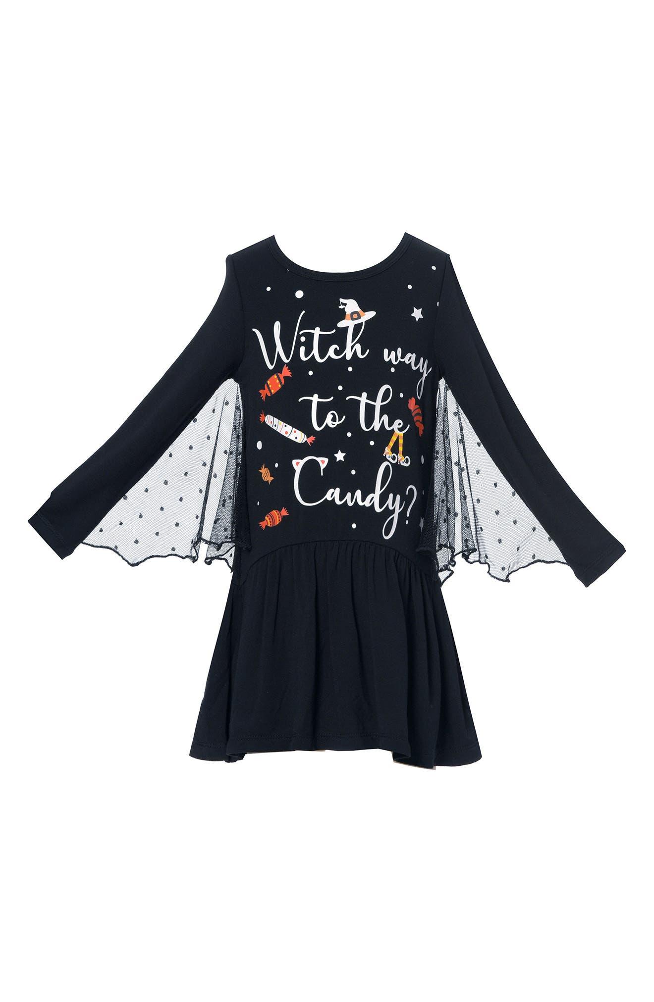 Image of Truly Me Kids' Bat Wing Glow in the Dark Long Sleeve Dress