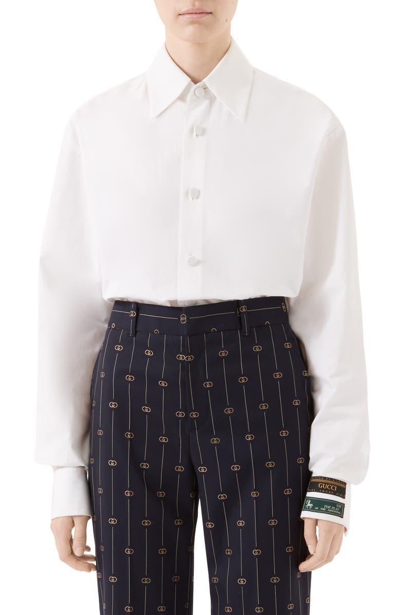 GUCCI Menswear Label Cotton Poplin Top, Main, color, WHITE