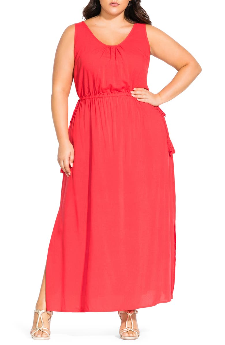 CITY CHIC Scoop Neck Tassel Tie Maxi Dress, Main, color, PAPAYA