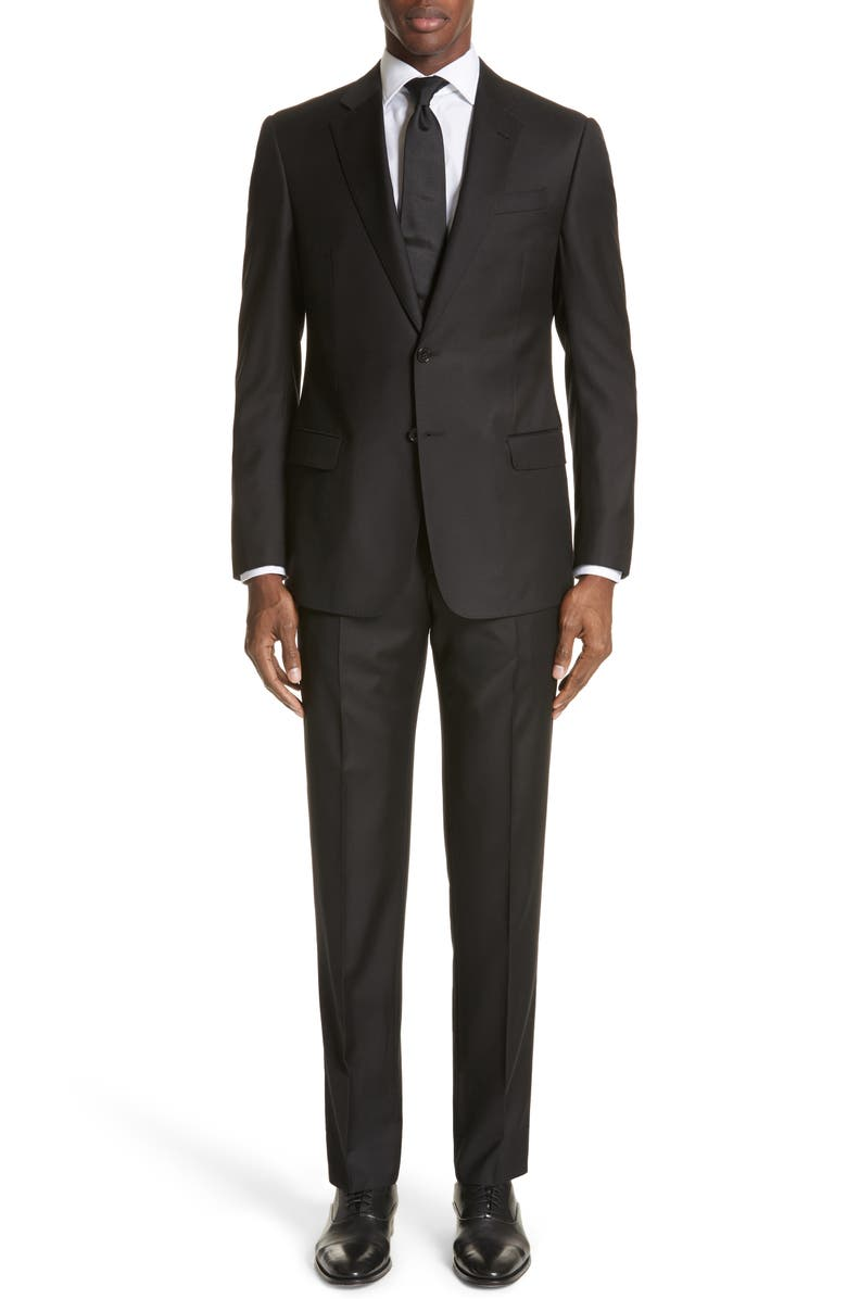 EMPORIO ARMANI Trim Fit Solid Wool Suit, Main, color, BLACK
