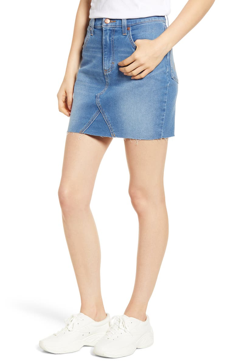 WRANGLER Raw Hem Denim Miniskirt, Main, color, LIGHT/ PASTEL BLUE