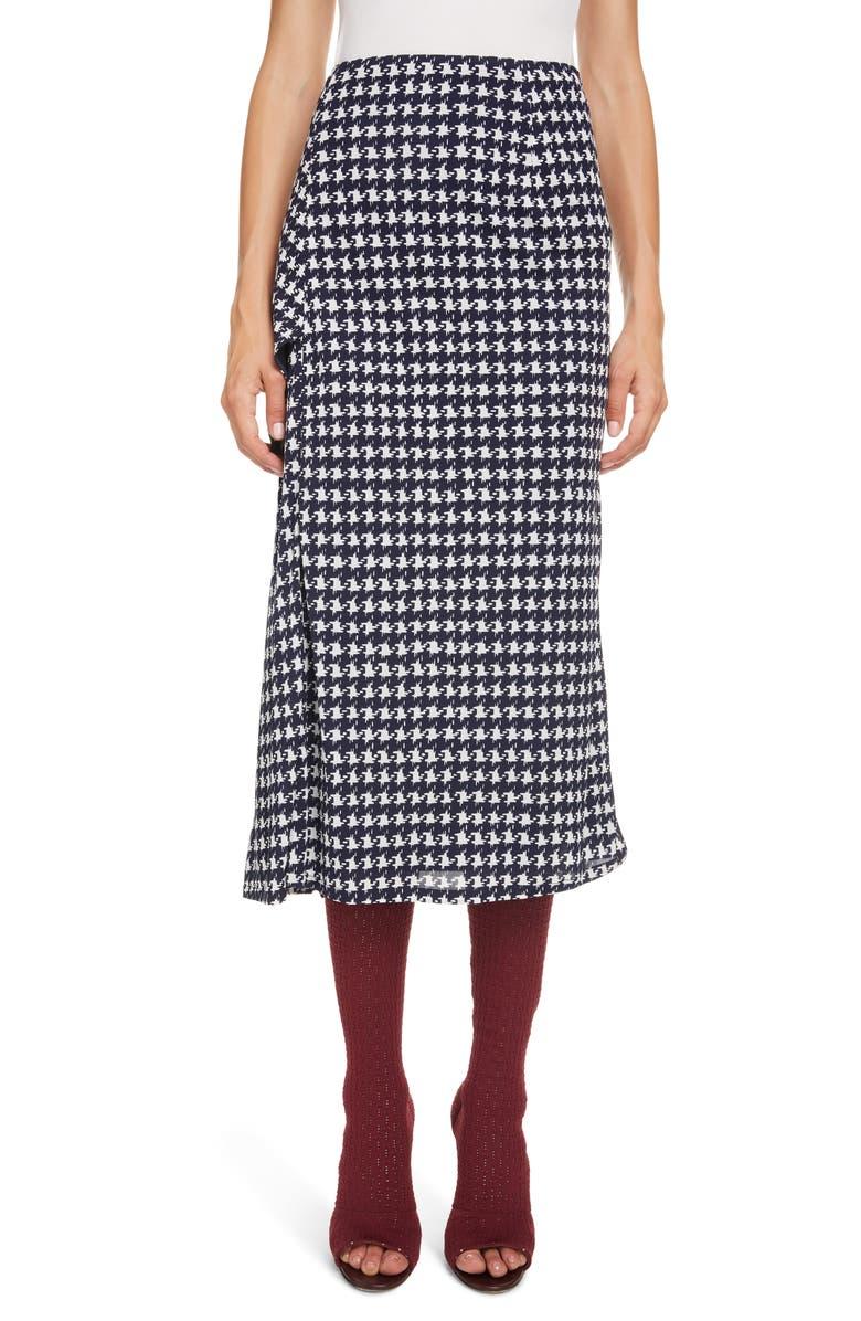 VICTORIA BECKHAM Houndstooth Print Wrap Midi Skirt, Main, color, NAVY/ OFF WHITE
