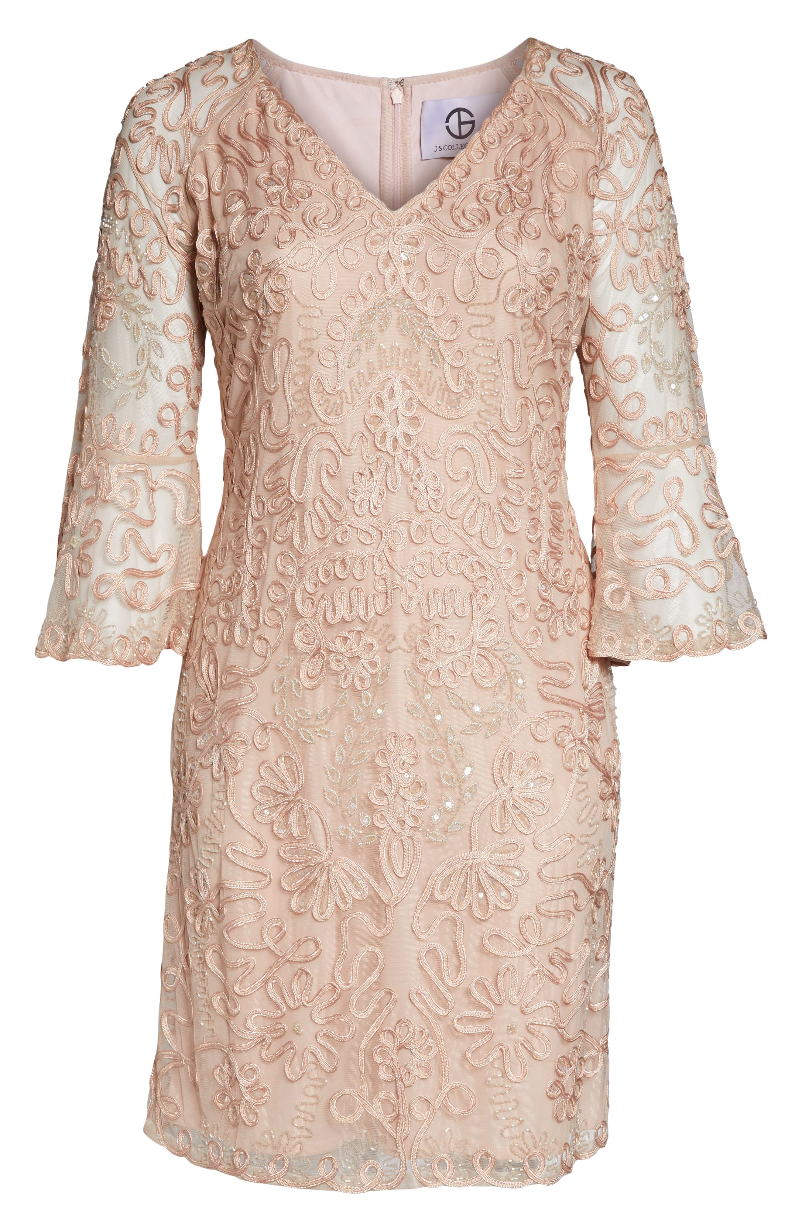 ,                             Bell Sleeve Mesh Shift Dress,                             Alternate thumbnail 8, color,                             PINK TAUPE
