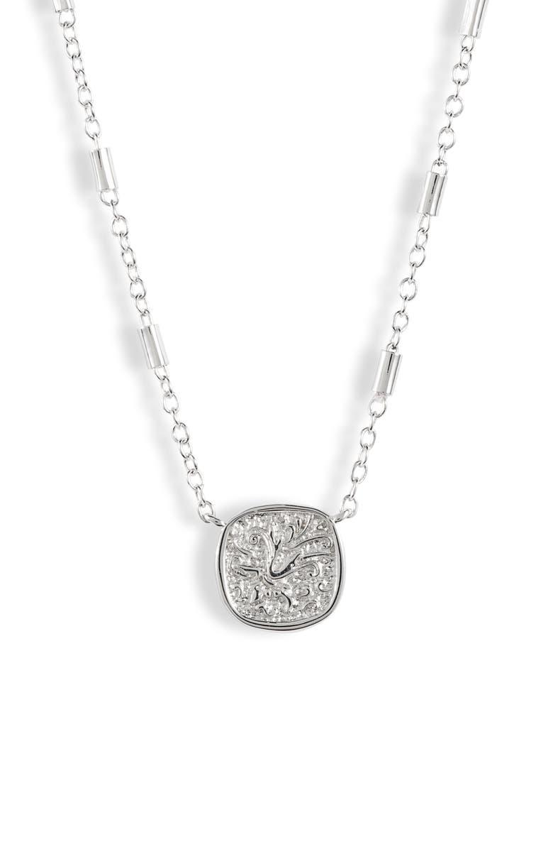 ALLSAINTS Mini Coin Pendant Necklace, Main, color, SILVER