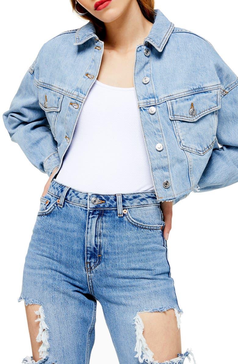 TOPSHOP Cropped Denim Jacket, Main, color, MID DENIM