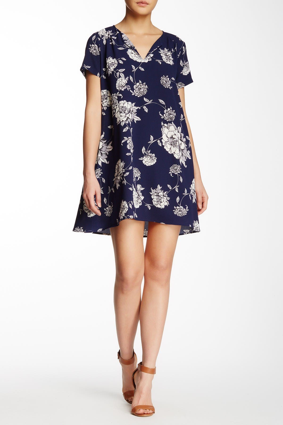 Image of Lush Split Neck Floral Print Dress