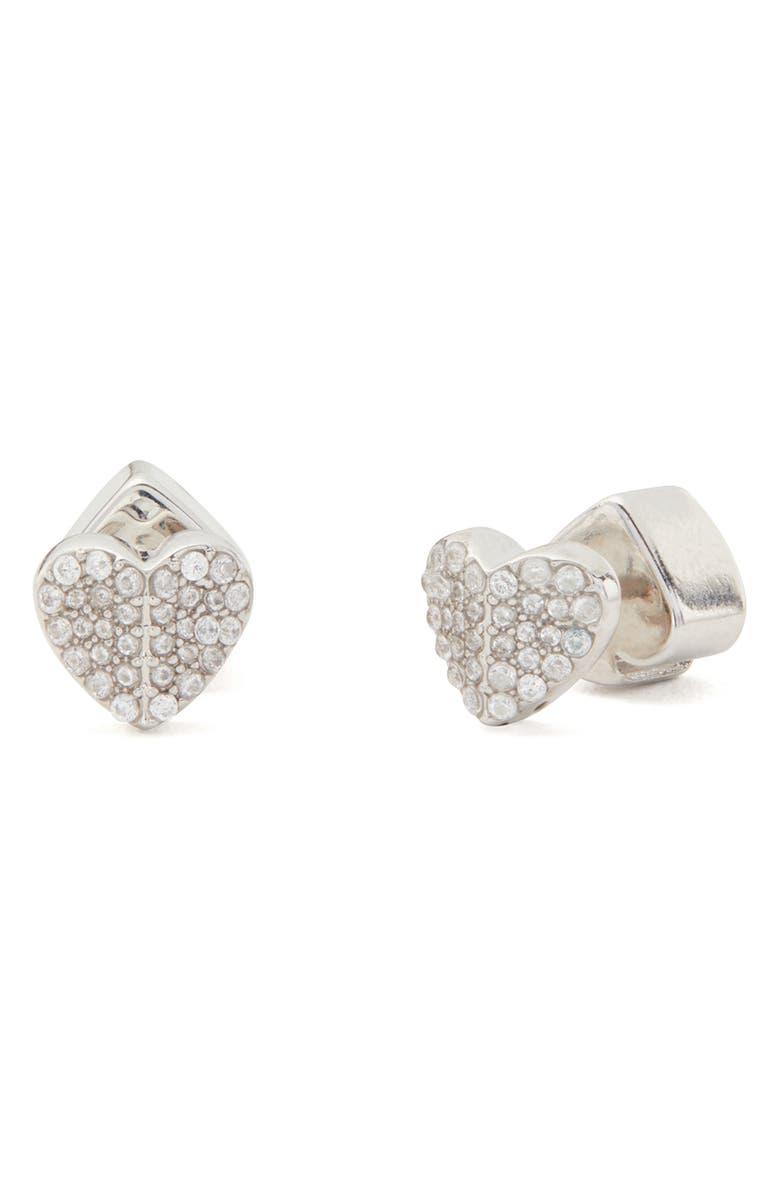 KATE SPADE NEW YORK heart to heart mini pavé stud earrings, Main, color, CLEAR/ SILVER