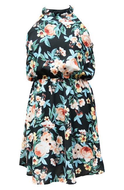 Image of AVA AND YELLY Mock Neck Skater Dress