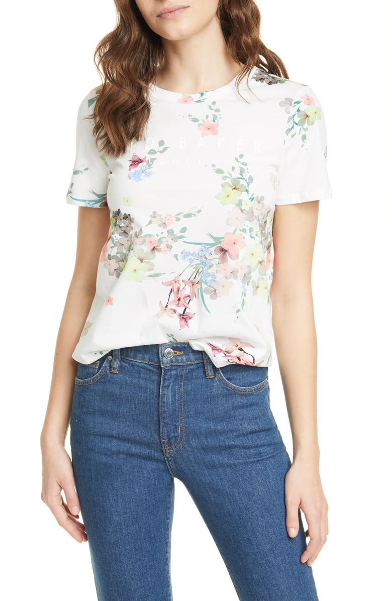 TED BAKER LONDON Lileeyy Pergola Floral Cotton T-Shirt, Main, color, 115