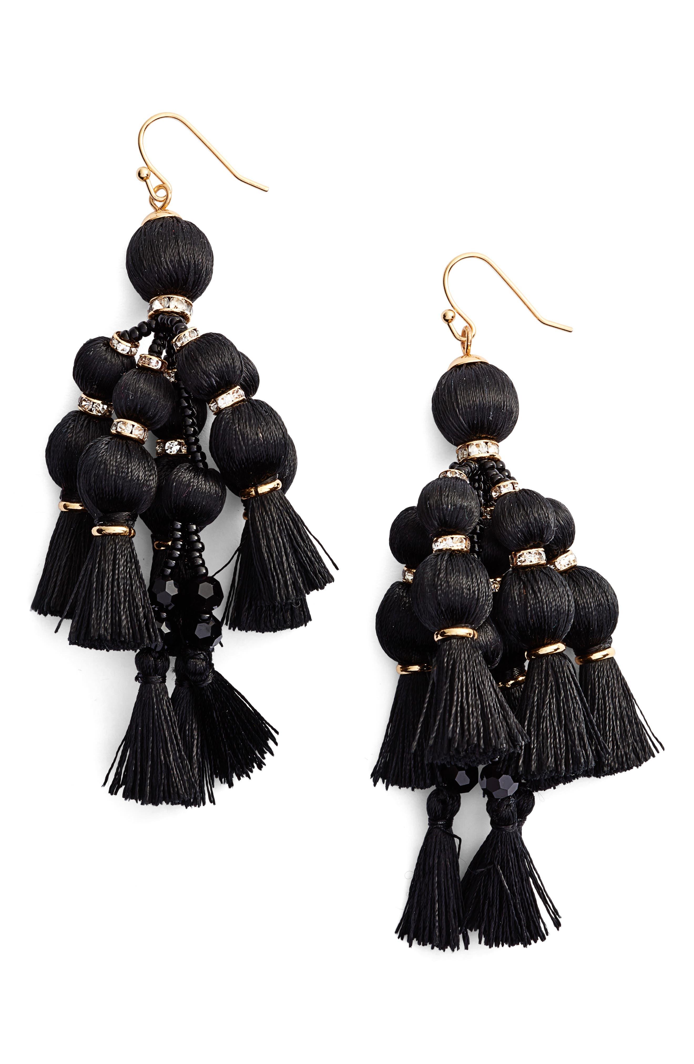pretty pom tassel drop earrings, Main, color, 001