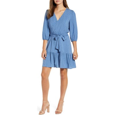 Petite Gibson X The Motherchic Paloma Woven Wrap Dress, Blue