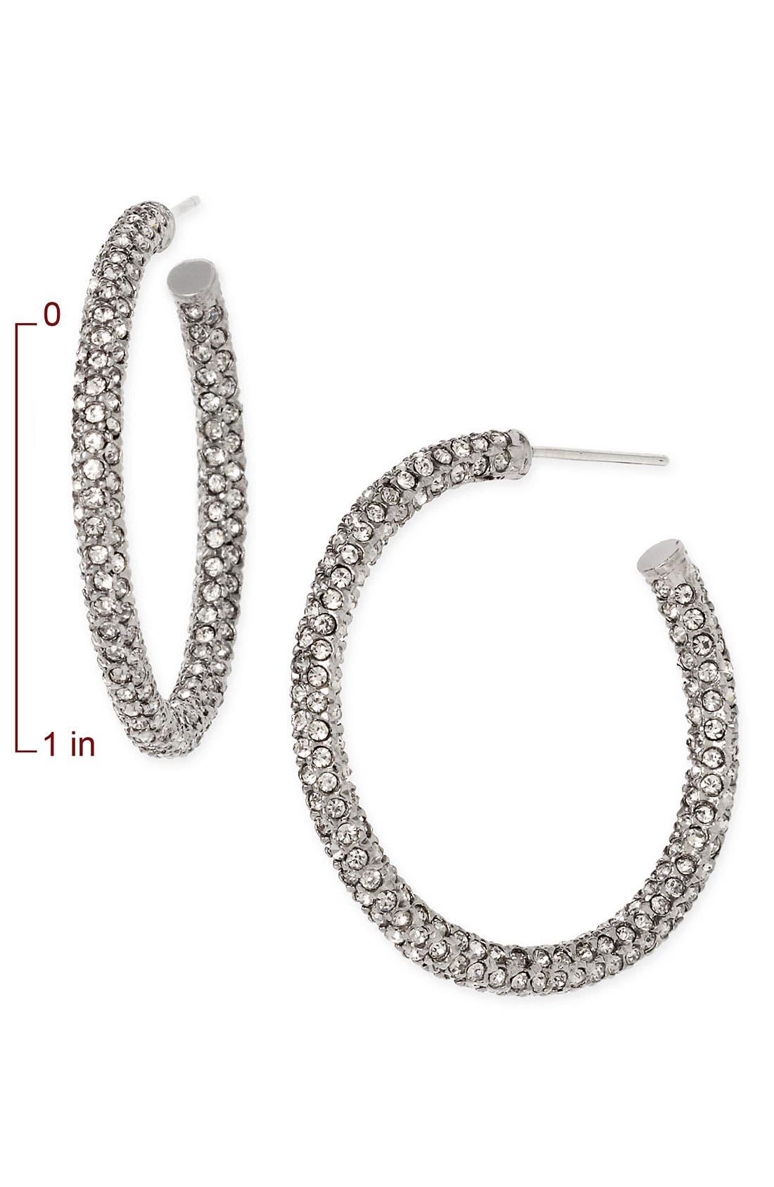 ,                             Medium Pavé Hoop Earrings,                             Alternate thumbnail 2, color,                             001