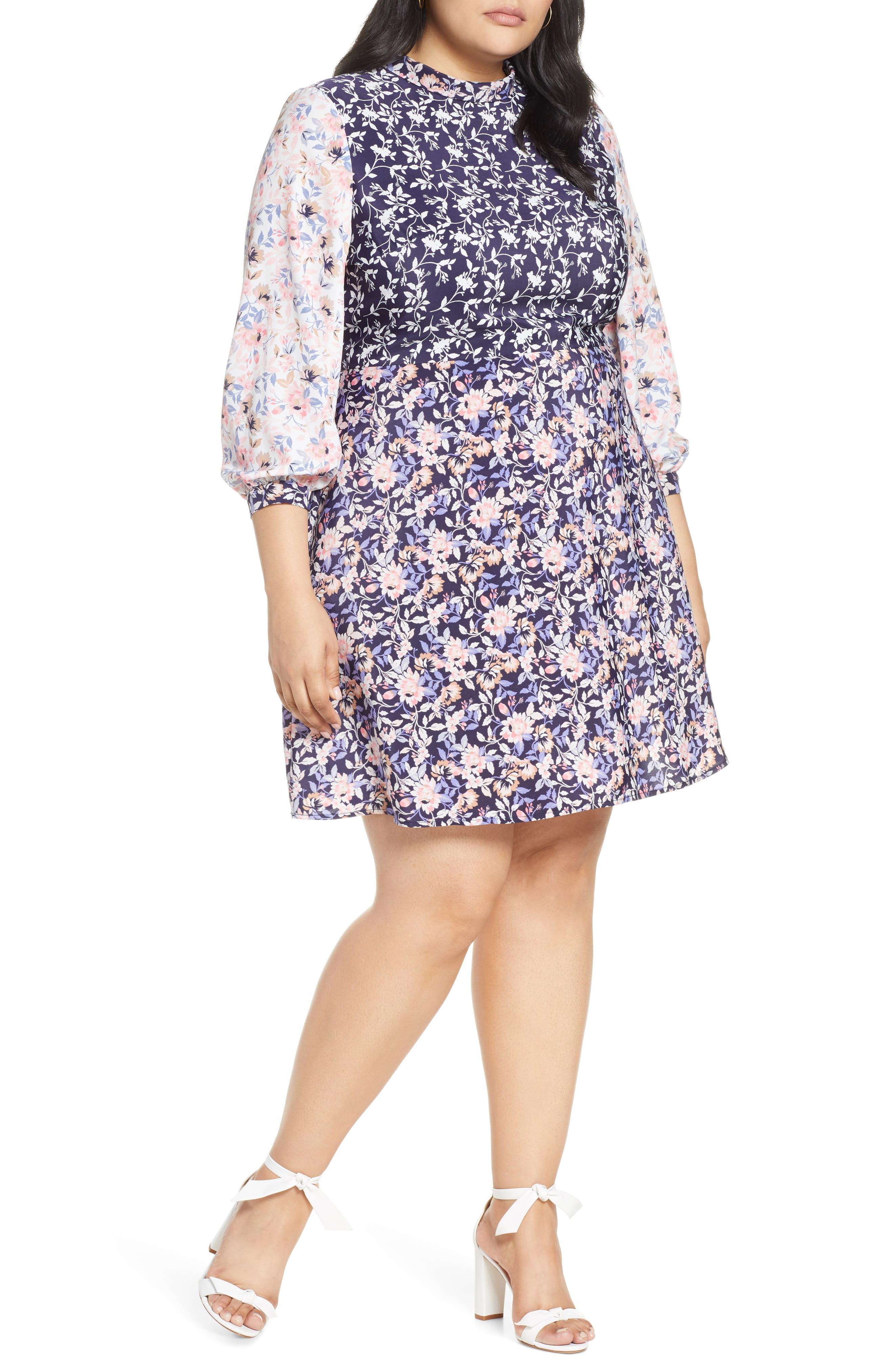 Plus Size 1901 Colorblock Floral Dress, (similar to 1-1) - Pink