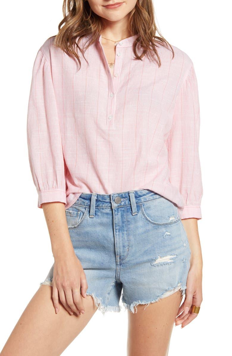 TREASURE & BOND Stripe Cotton Peasant Blouse, Main, color, WHITE- RED ROSE STRIPE