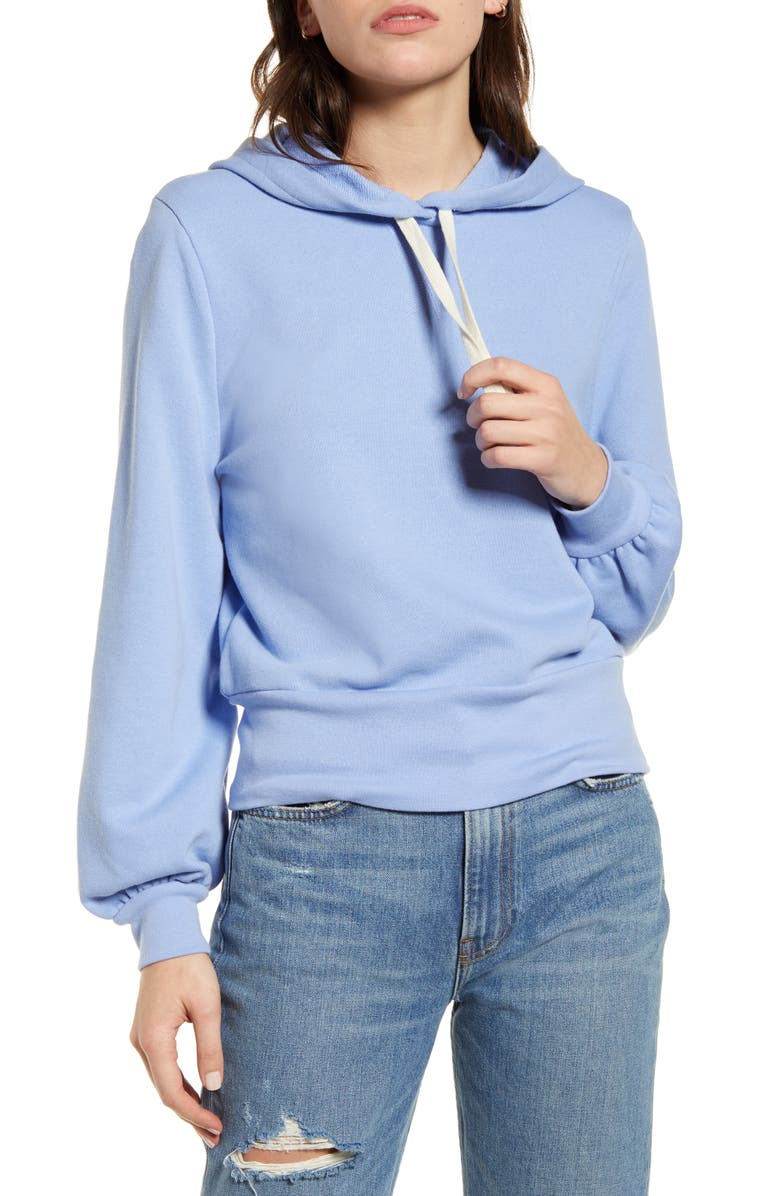 MADEWELL Bubble Sleeve Hoodie Crop Sweatshirt, Main, color, RAINWASHED