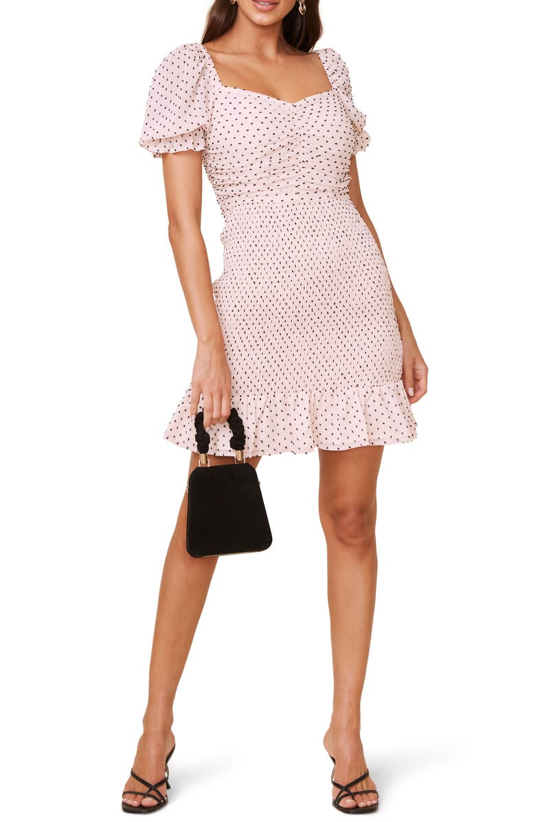 Smocked Clip Dot Chiffon Minidress