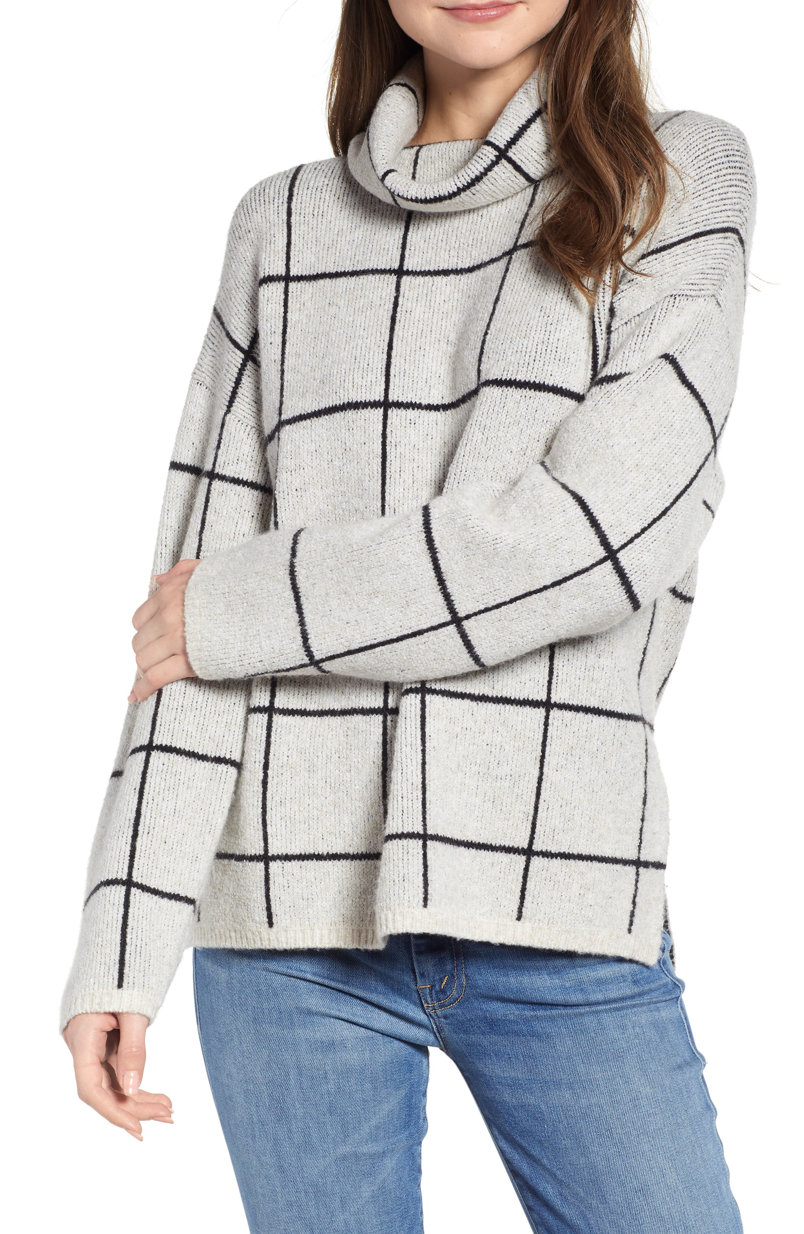 Image of Madewell Windowpane Turtleneck Sweater