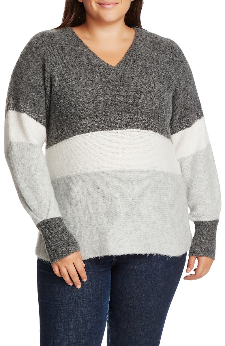 1.STATE Stripe V-Neck Tunic Sweater, Main, color, MEDIUM HEATHER GREY
