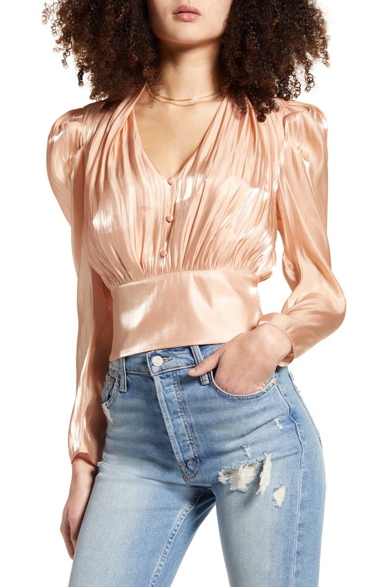 LEITH Shine Long Sleeve Button Front Blouse, Main, color, METALLIC GOLD