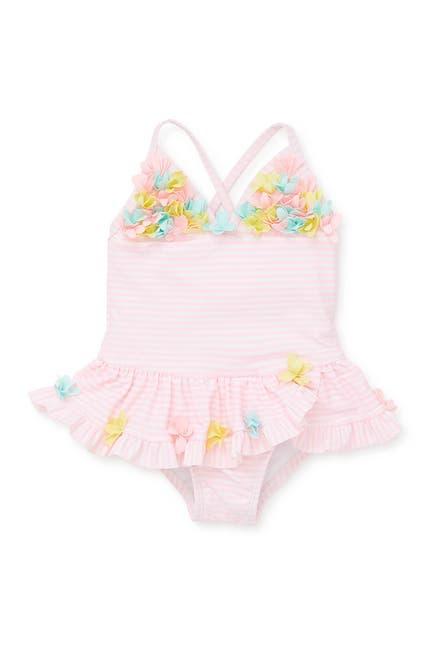 Image of Little Me 3D Floral Applique Swimsuit