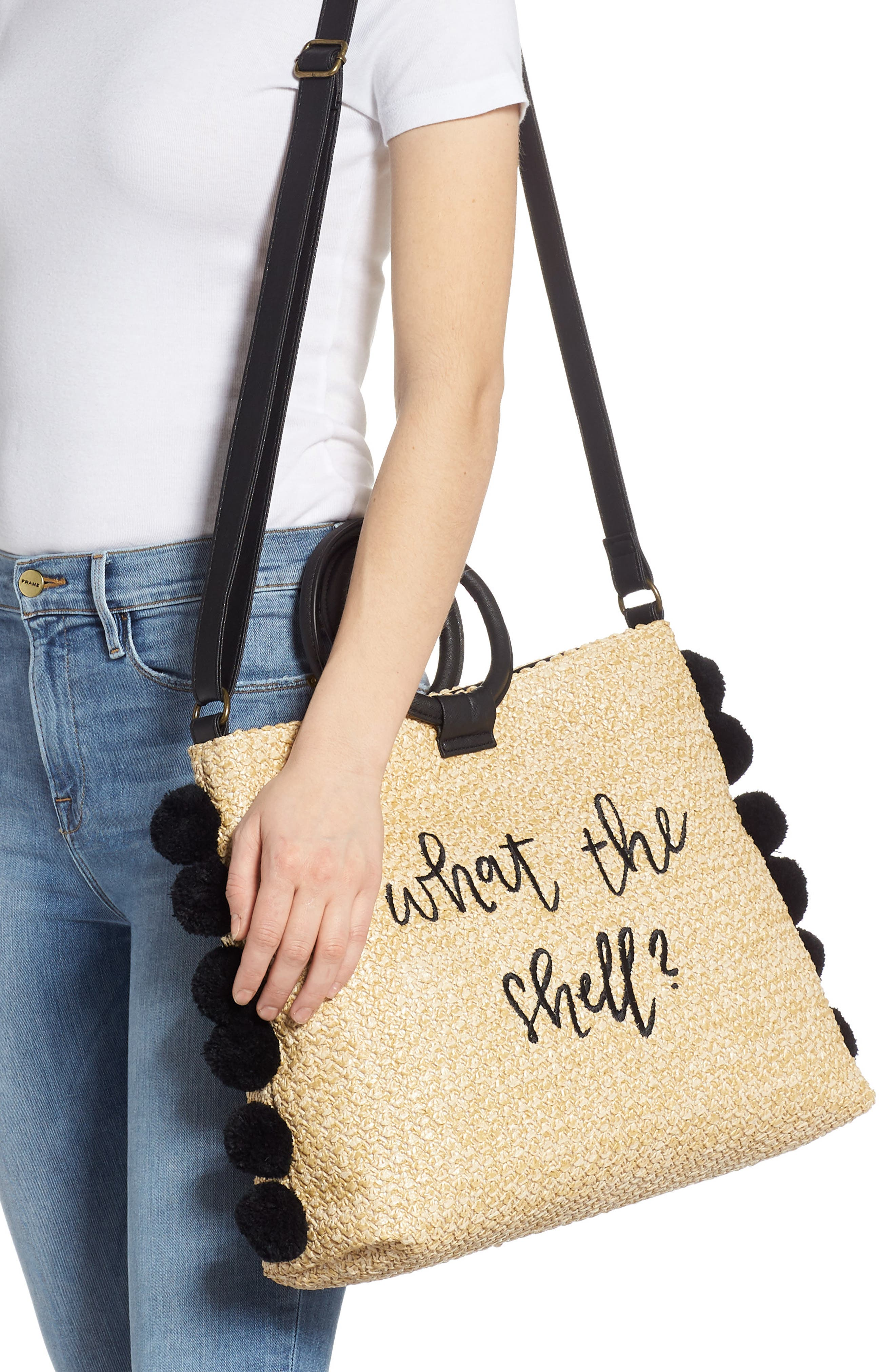 ,                             Pompom Trim Embroidered Straw Tote,                             Alternate thumbnail 2, color,                             NATURAL