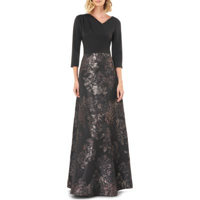 Kay Unger Izabella A-Line Evening Gown, Black