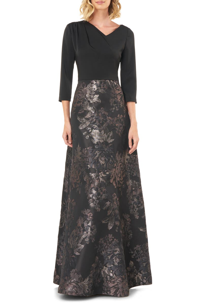 KAY UNGER Izabella A-Line Evening Gown, Main, color, SLATE MULTI