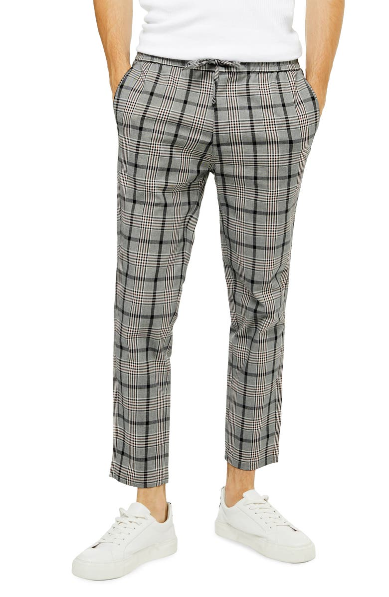 TOPMAN Whyatt Slim Fit Plaid Dress Pants, Main, color, GREY MULTI