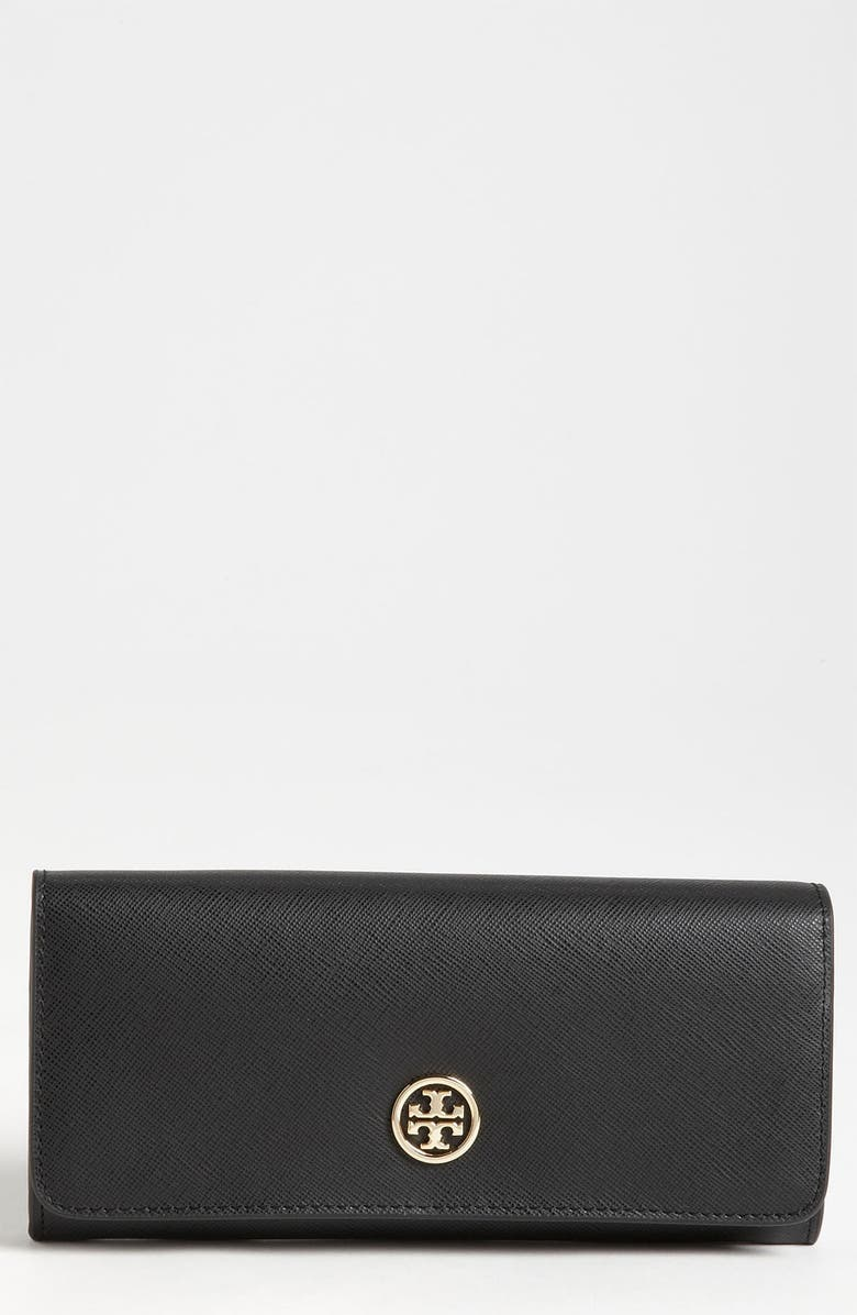TORY BURCH 'Robinson' Saffiano Leather Wallet, Main, color, 001