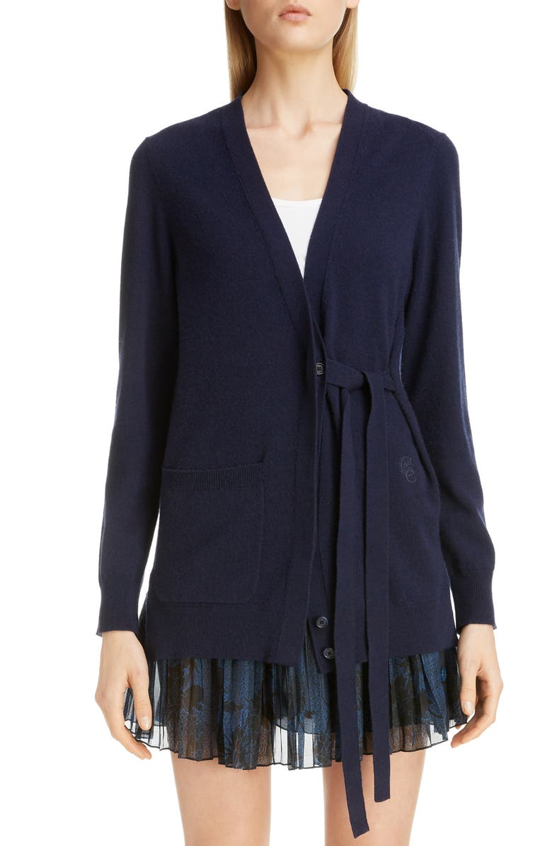 CHLOÉ Cashmere Tie Cardigan, Main, color, ICONIC NAVY