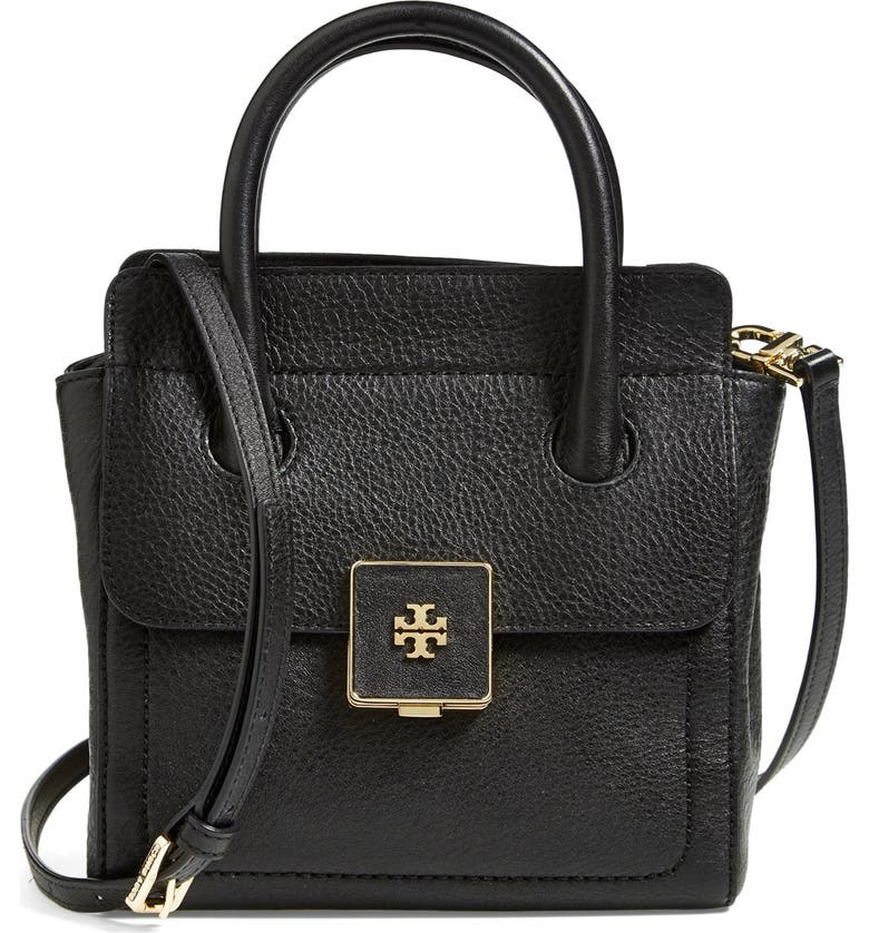 TORY BURCH 'Small Clara' Leather Tote, Main, color, 001