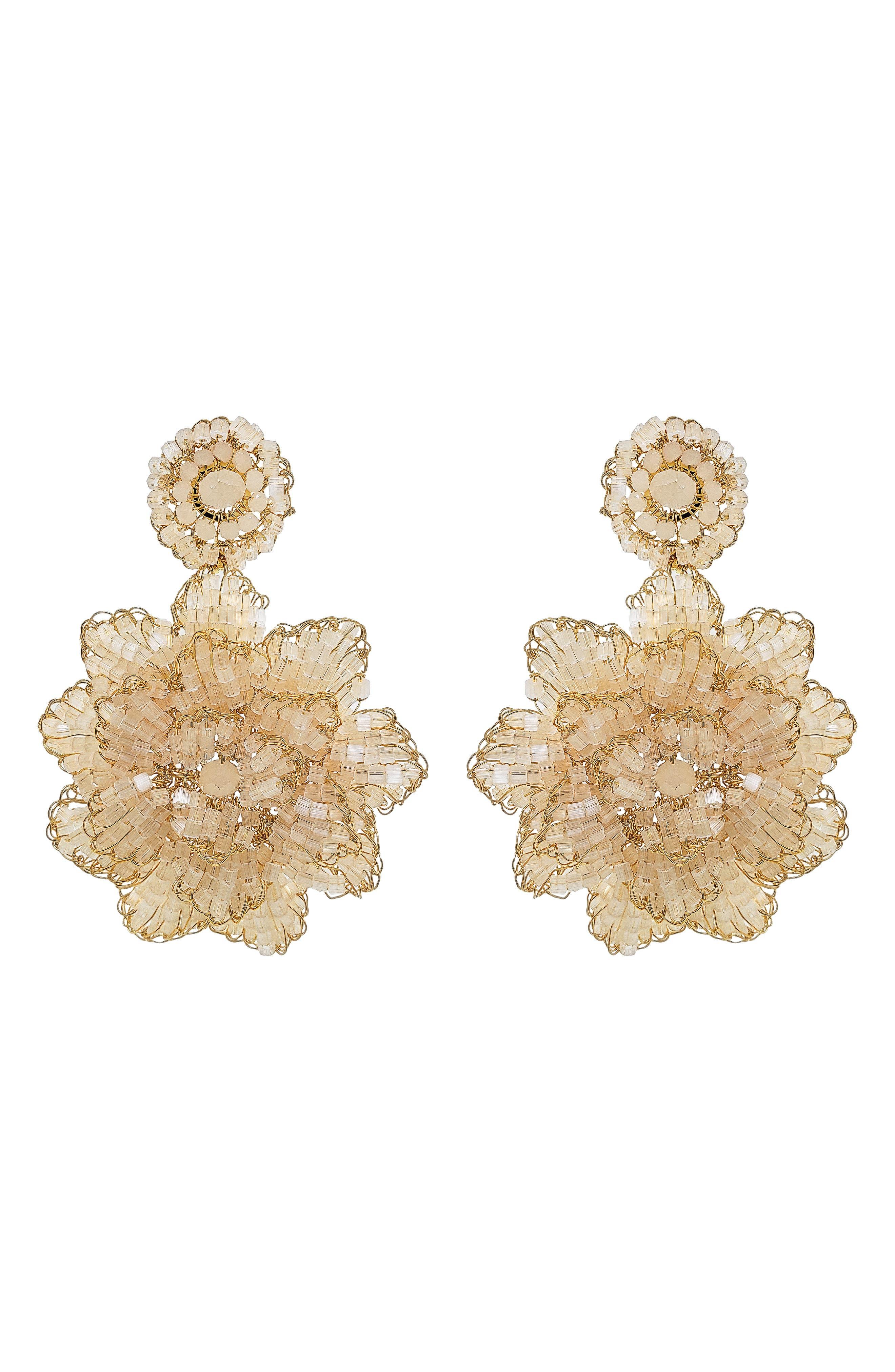 Crochet Blossom Drop Earrings