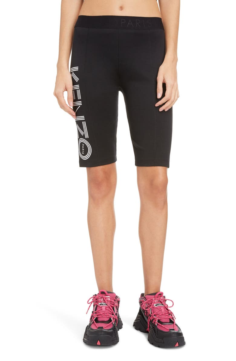 KENZO Logo Stretch Cotton Cyclist Shorts, Main, color, 001