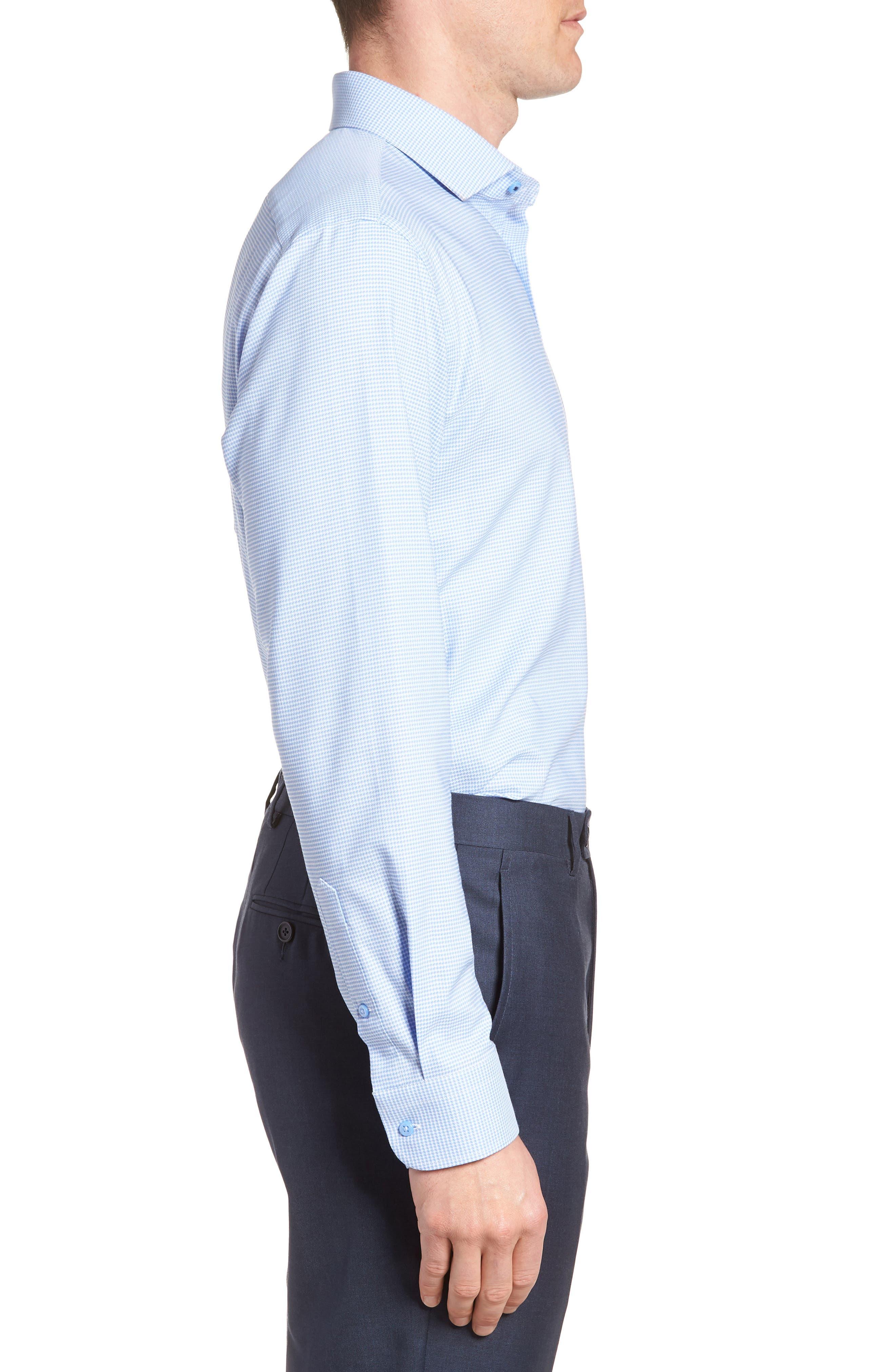 ,                             Tech-Smart Trim Fit Stretch Texture Dress Shirt,                             Alternate thumbnail 4, color,                             BLUE HYDRANGEA