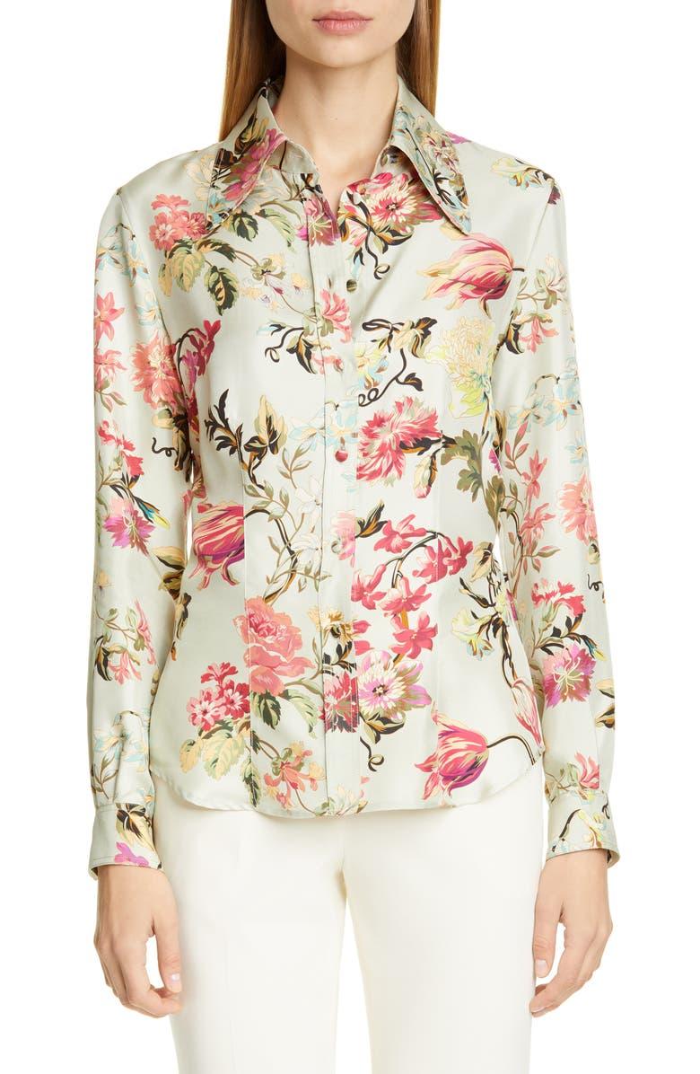 ETRO Floral Print Silk Blouse, Main, color, 100