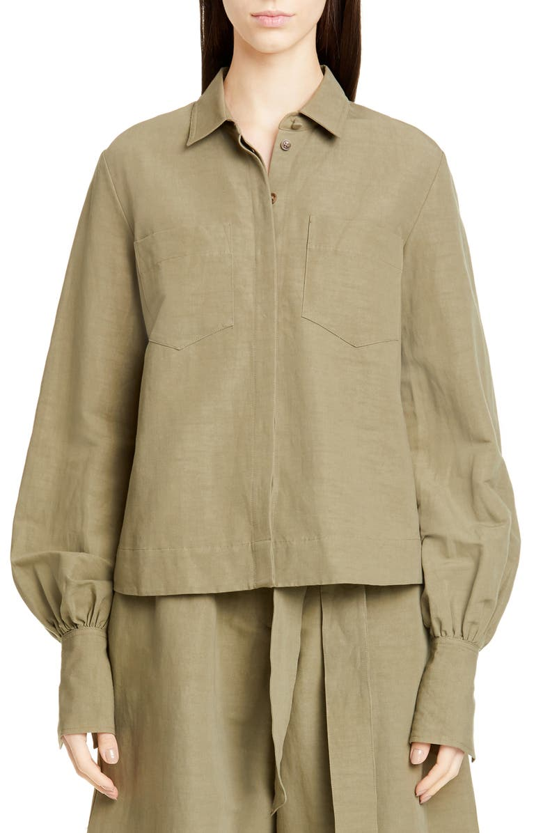 CO Puff Sleeve Linen Blend Shirt, Main, color, OLIVE