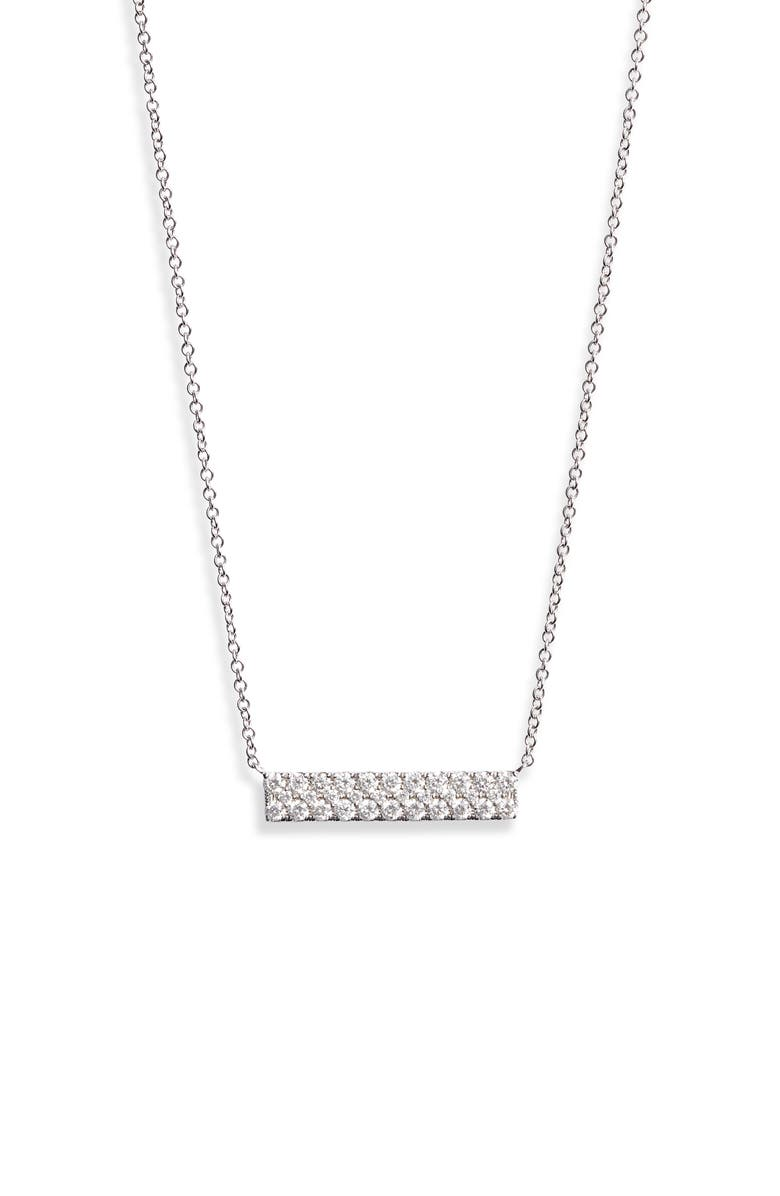 BONY LEVY Bardot Pavé Diamond Bar Necklace, Main, color, WHITE GOLD./ DIAMOND