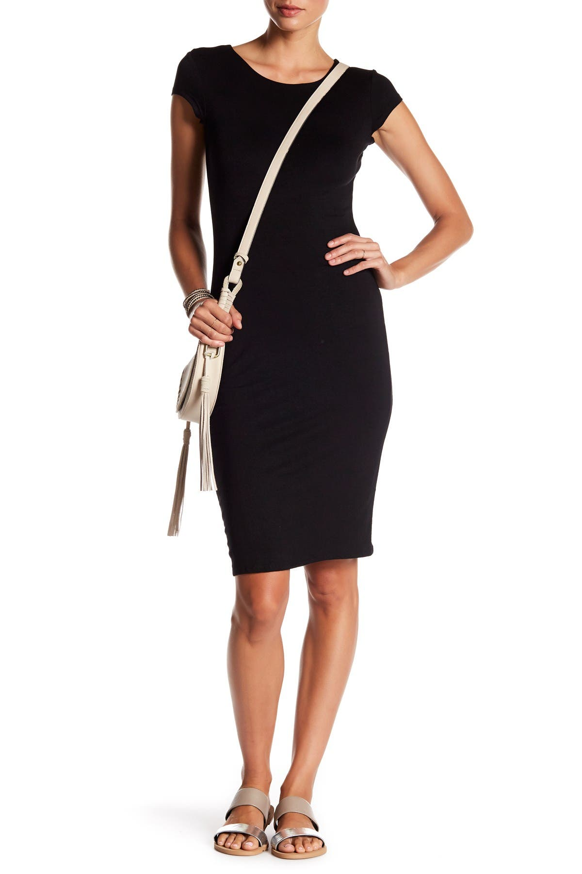 Image of Velvet Torch Cap Sleeve Bodycon Dress