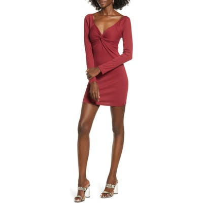 All In Favor Twist Front Body-Con Minidress, Red