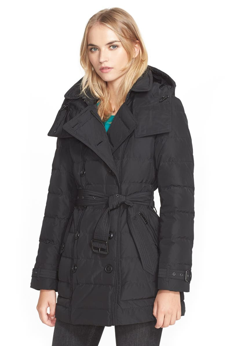 BURBERRY BRIT 'Mid Allerdale' Belted Quilted Down Coat with Detachable Hood, Main, color, 001