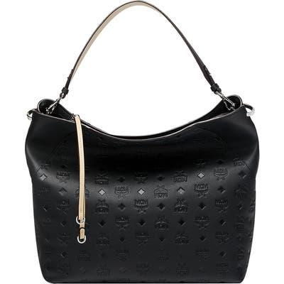 Mcm Large Klara Monogram Leather Hobo - Black