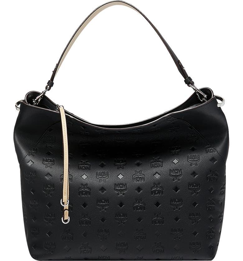 MCM Large Klara Monogram Leather Hobo, Main, color, BLACK