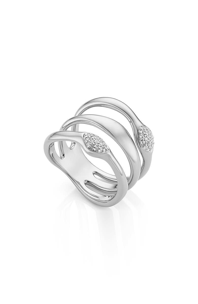 MONICA VINADER Nura Teardrop Multi Band Diamond Pavé Ring, Main, color, SILVER/ DIAMOND