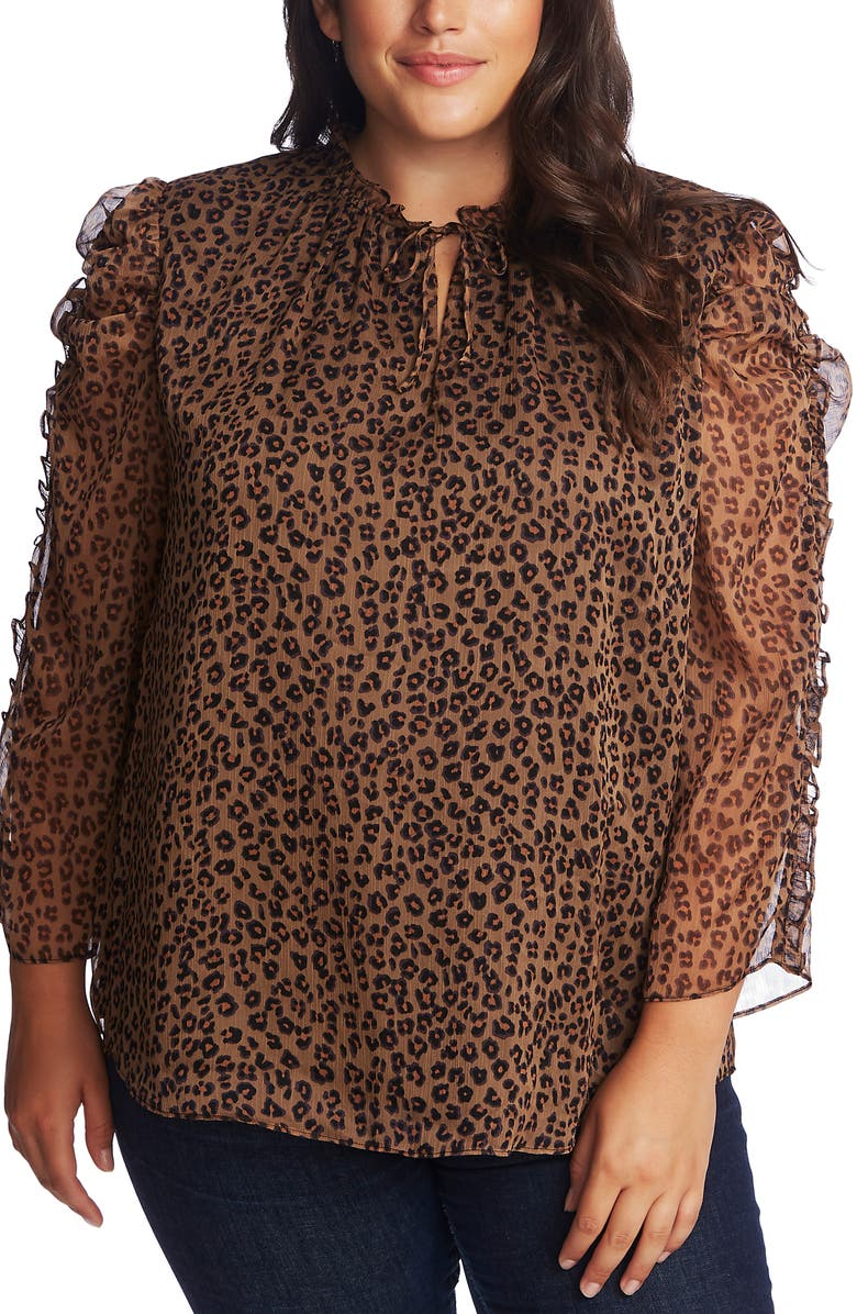 CECE Leopard Print Ruffle Sleeve Top, Main, color, SPICEWOOD