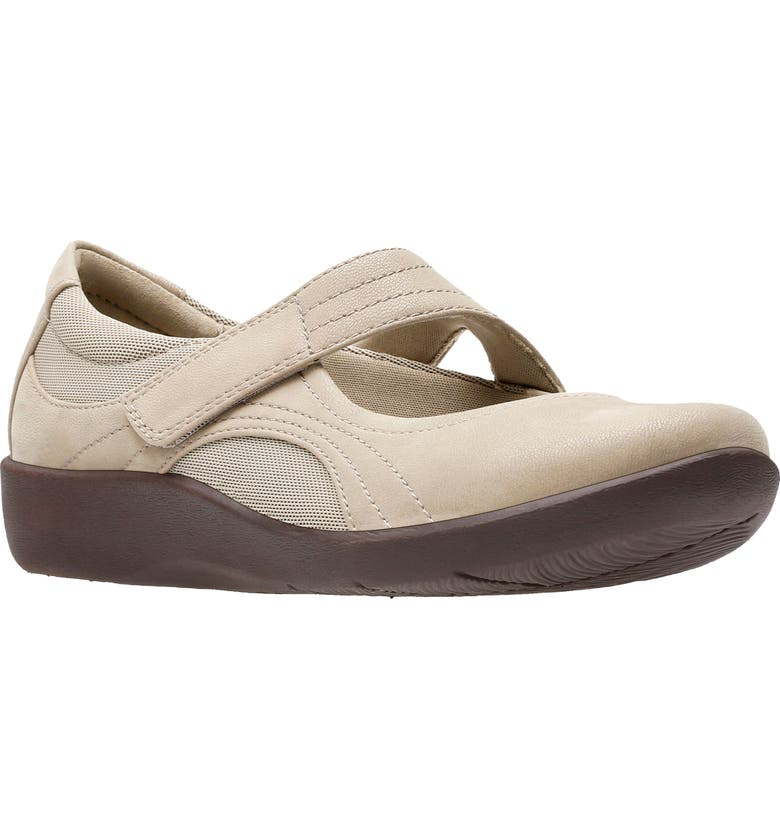CLARKS<SUP>®</SUP> Sillian Bella Mary Jane Flat, Main, color, SAND SYNTHETIC NUBUCK