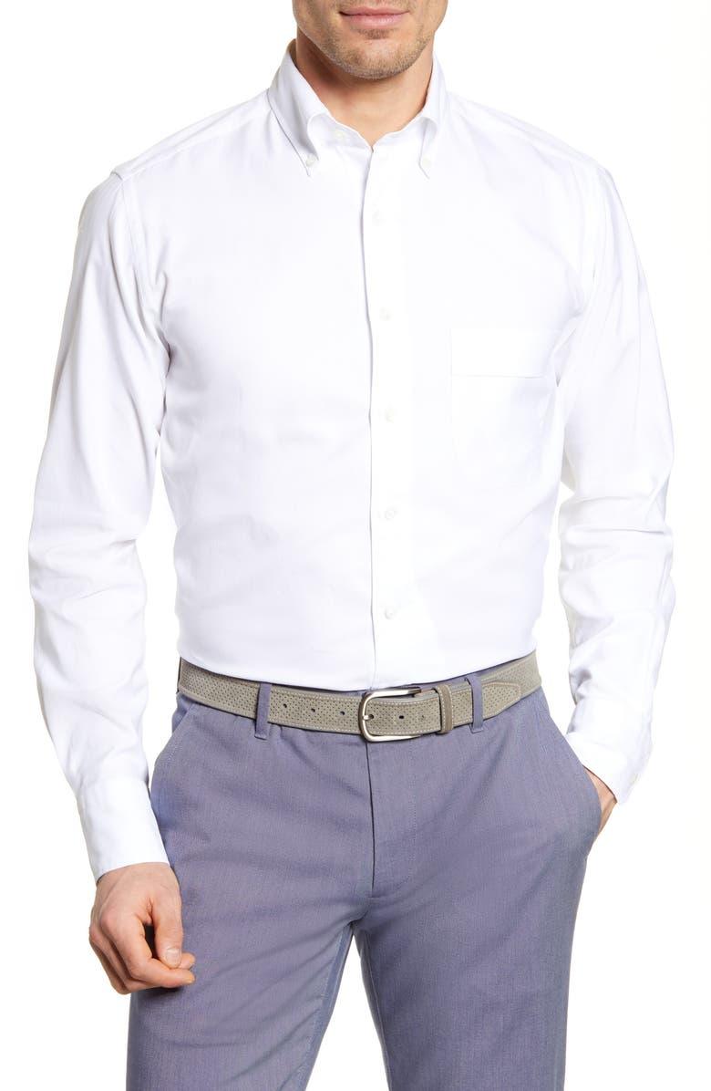 THOMAS PINK Weekend Trim Fit Oxford Dress Shirt, Main, color, 100