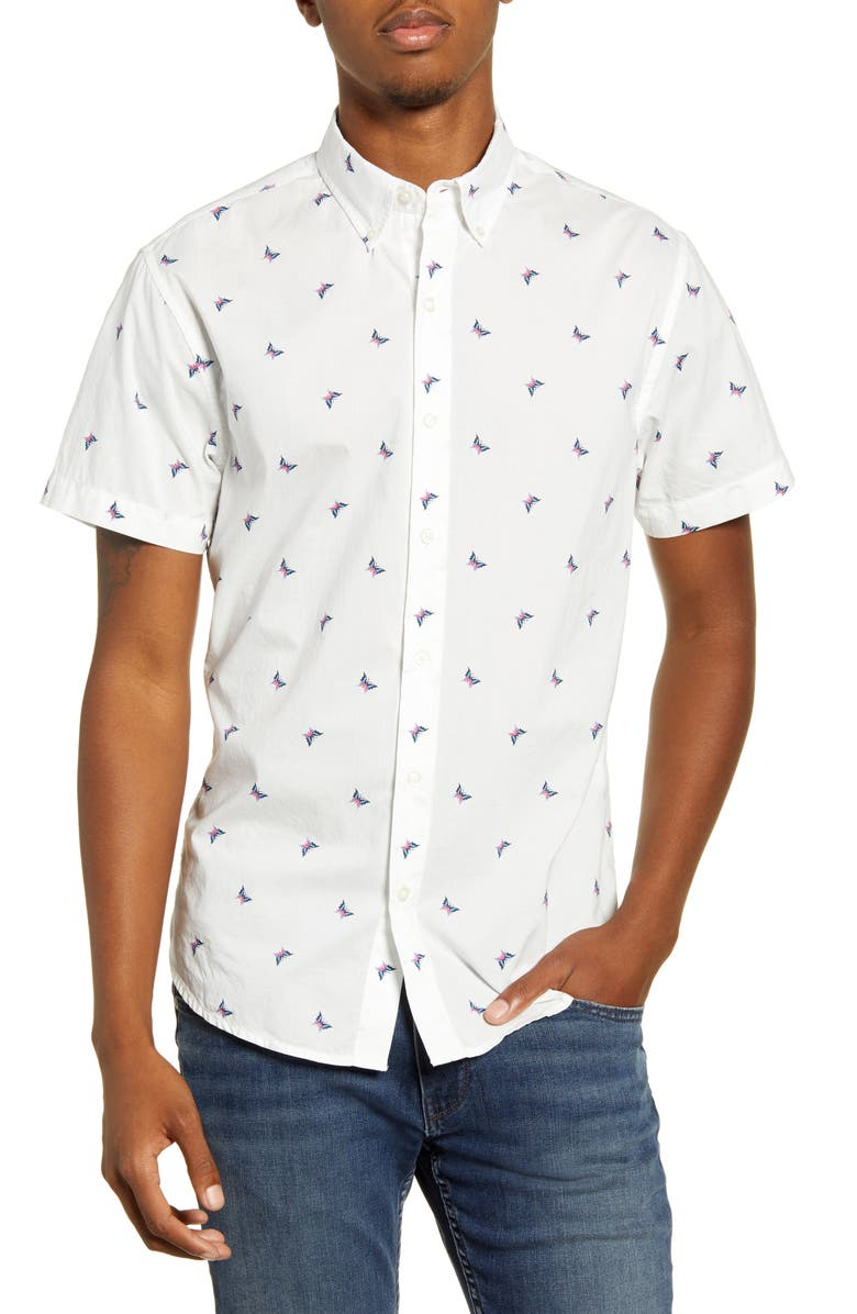 BONOBOS Riviera Slim Fit Short Sleeve Button-Down Sport Shirt, Main, color, BUTTERFLY - PINK CARMINE