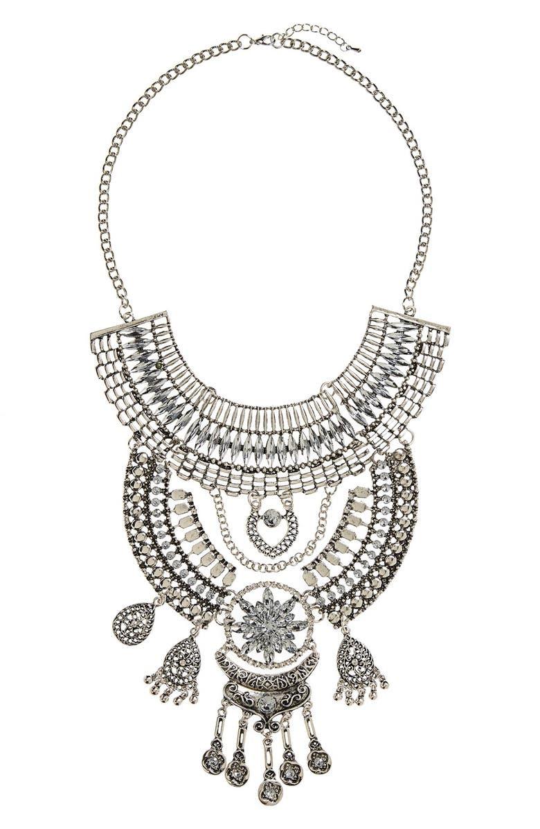 TOPSHOP Crystal Drop Statement Necklace, Main, color, 040