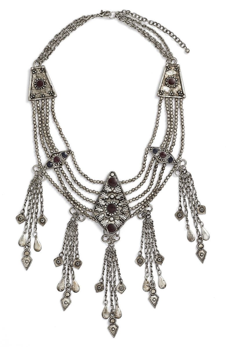 BP. Bead Fringe Collar Necklace, Main, color, 040