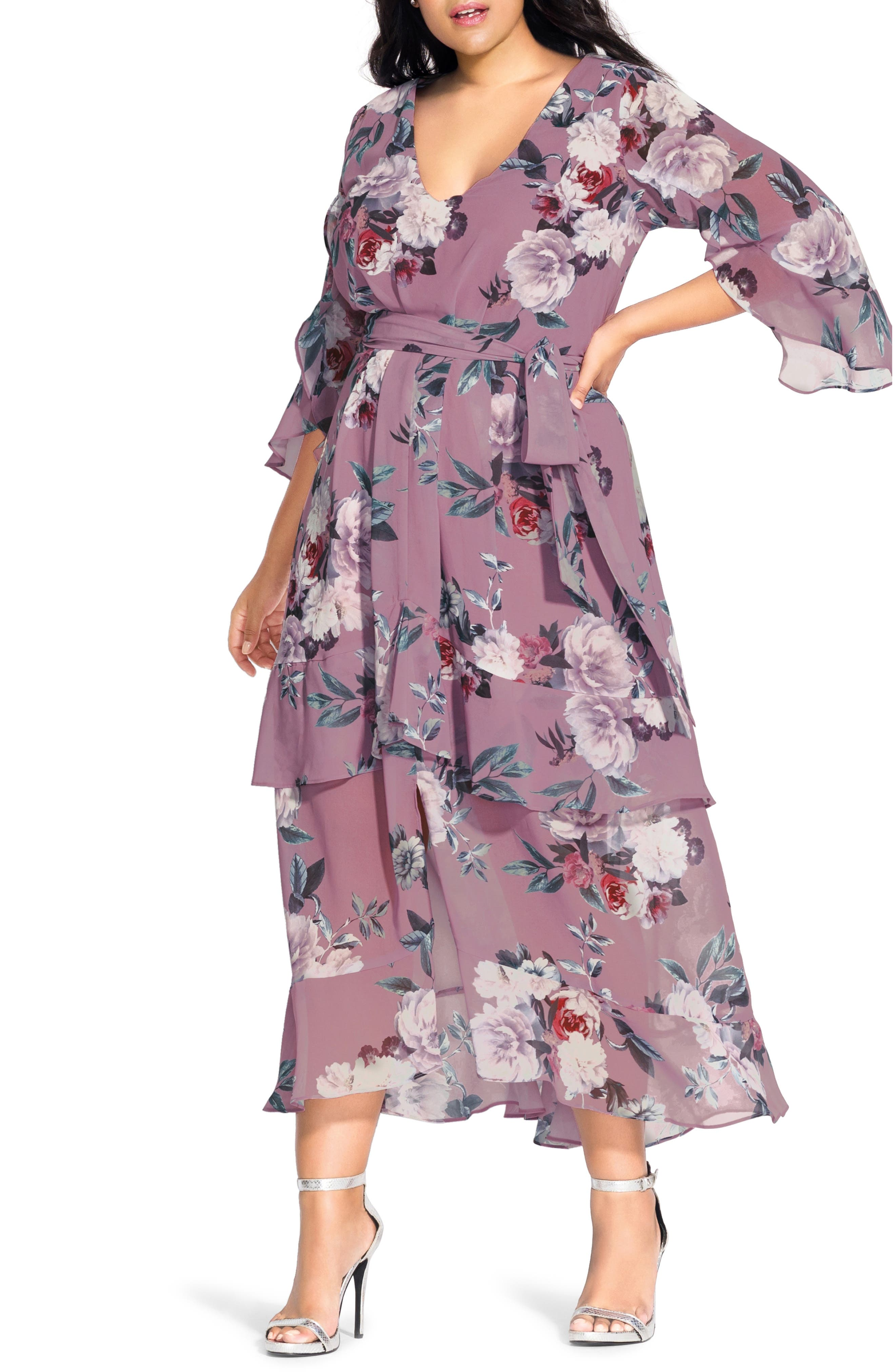 60s 70s Plus Size Dresses, Clothing, Costumes Plus Size Womens City Chic Rosewater Floral Chiffon Maxi Dress $64.50 AT vintagedancer.com